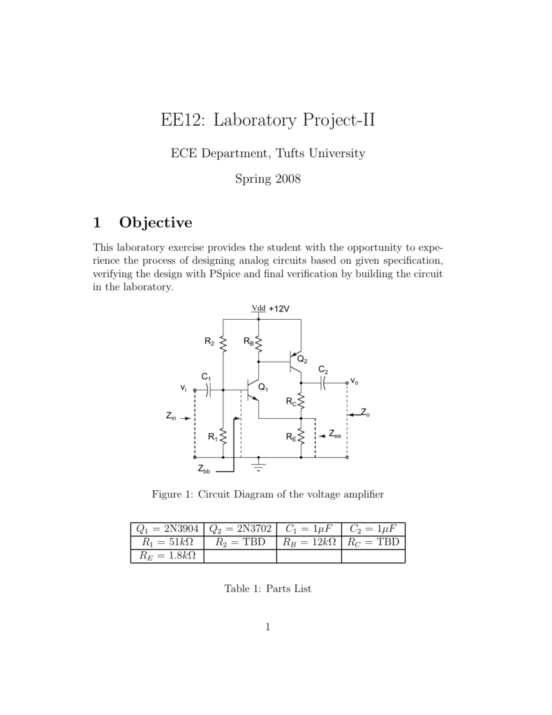 Handout Tufts University Amplifier Circuit Diagram And Parts List