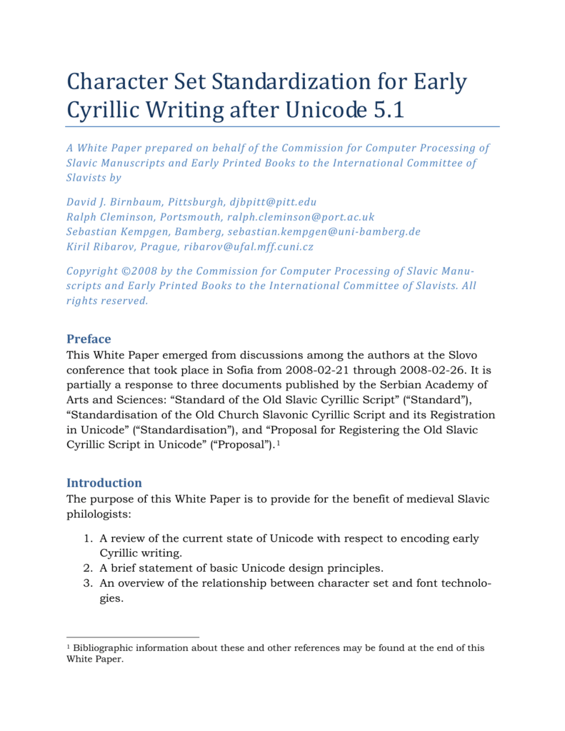 Character Set Standardization for Early Cyrillic Writing after Unicode