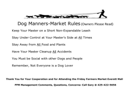 Dog Manners-Market Rules(Owners Please Read)