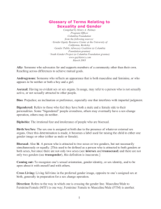 Glossary of Terms Relating to Sexuality and Gender