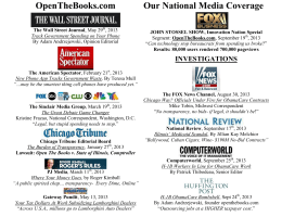 OpenTheBooks.com Our National Media Coverage