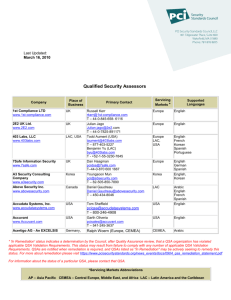 Qualified Security Assessors (QSAs) list