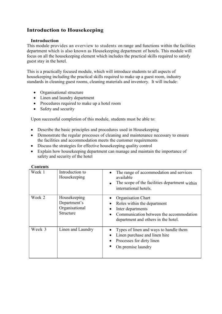 functions of housekeeping department in hotel industry