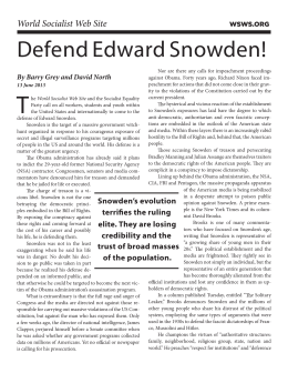 Defend Edward Snowden! - Socialist Equality Party