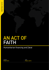 An act of faith: humanitarian financing and zakat