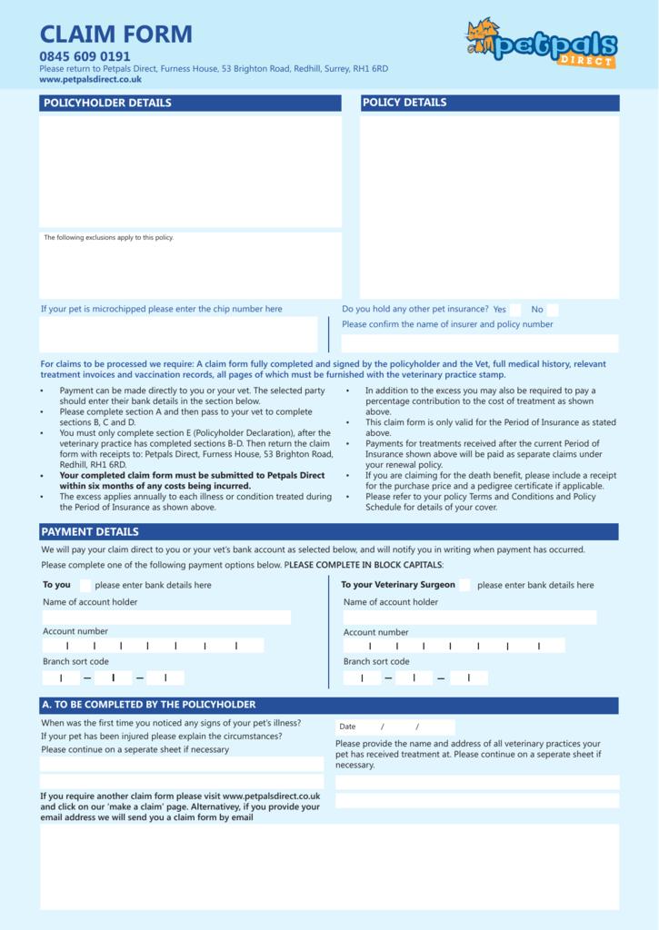 claim form - Petpals Direct