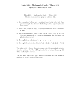 Math 160A - Mathematical Logic - Winter 2016
