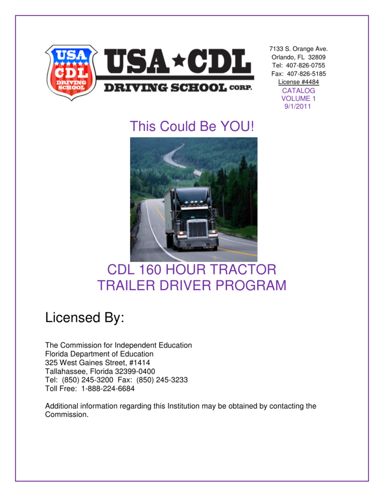 Cdl 160 Hour Tractor Trailer Driver Program Licensed