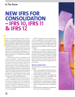 NEW IFRS FOR CONSOLIDATION – IFRS 10, IFRS 11 & IFRS 12