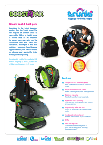 Booster seat & back pack Features