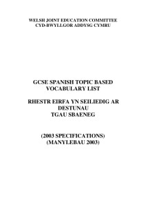gcse spanish topic based vocabulary list rhestr eirfa yn