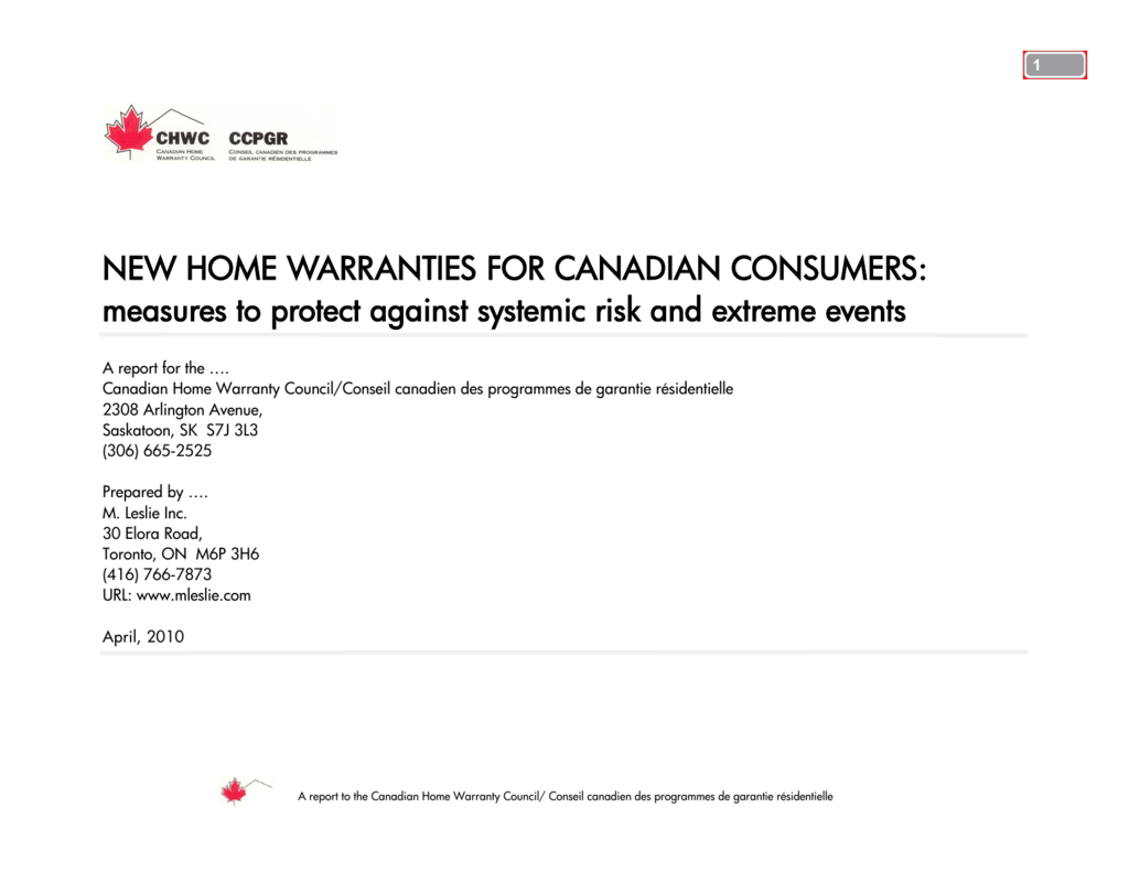 New Home Warranties For Canadian Consumers Measures To