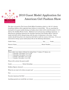 2010 Guest Model Application for American Girl Fashion Show