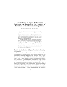 Applications of Sigma Notation in Counting and Evaluating the