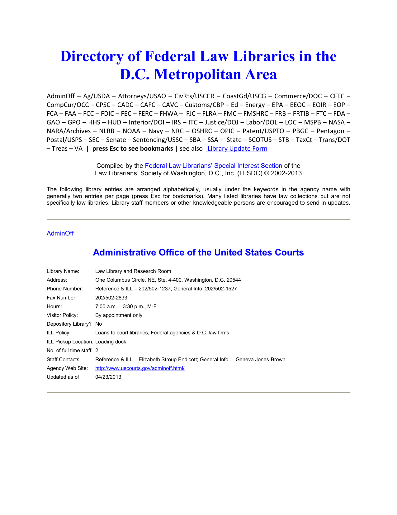 Directory of Federal Law Libraries in the D C  Metropolitan Area