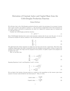 Derivation of Constant Labor and Capital Share from