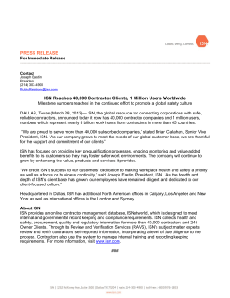 PRESS RELEASE ISN Reaches 40,000 Contractor Clients, 1 Million