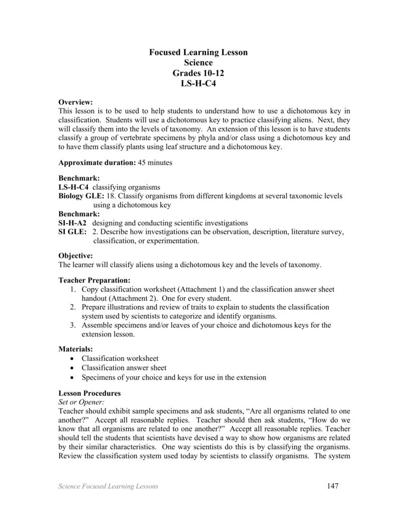 Focused Learning Lesson Science Grades 1012 LSHC4 – Classification Worksheet Biology