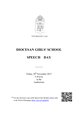 Speech Day Booklet - Diocesan Girls' School