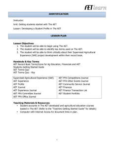 AET video, AET profile worksheet and key record book terms