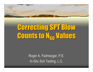 CORRECTING SPT BLOW COUNTS TO N60 VALUES - In
