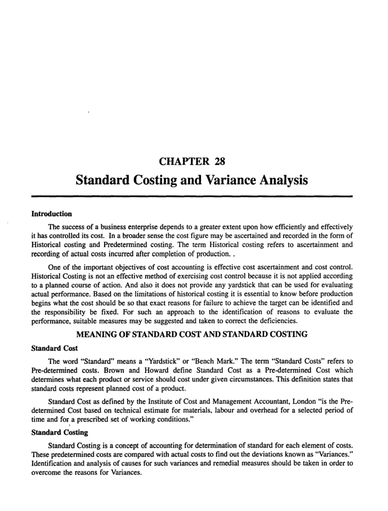 Chapter 28 standard costing and variance analysis falaconquin