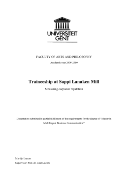 Traineeship at Sappi Lanaken Mill