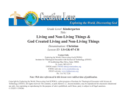 Living and Non-Living Things & God Created Living