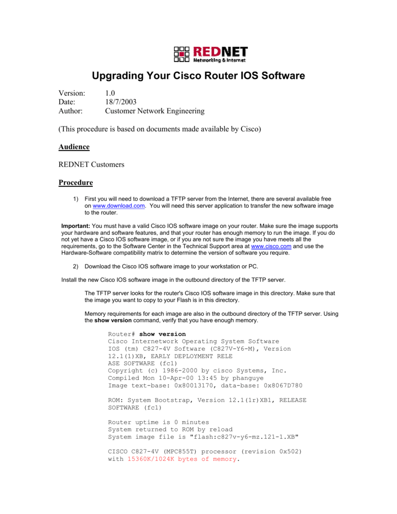Upgrading Your Cisco Router IOS Software