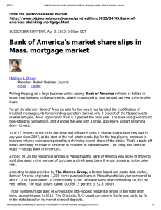 Bank of America's market share slips in Mass. mortgage market