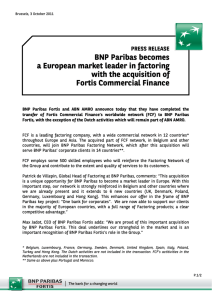 BNP Paribas becomes a European market leader in factoring with