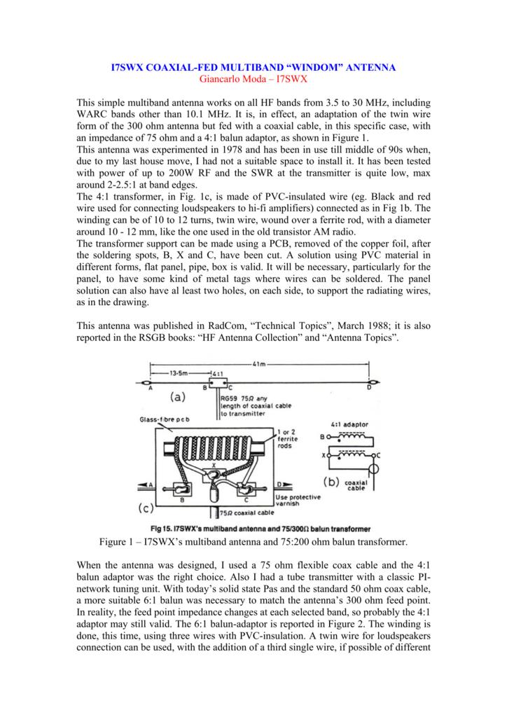 "i7swx coaxial-fed multiband ""windom"" antenna"
