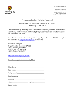 Department of Chemistry, University of Calgary Prospective Student