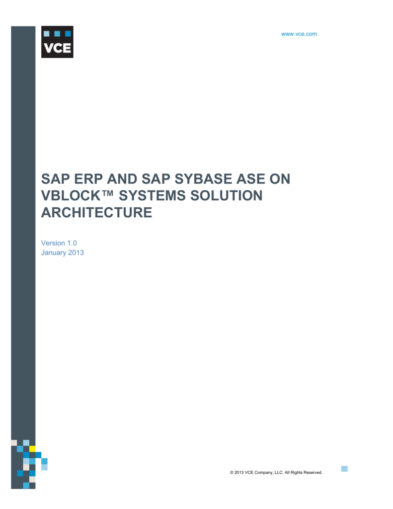 Sap Erp And Sap Sybase Ase On Vblock Systems Solution