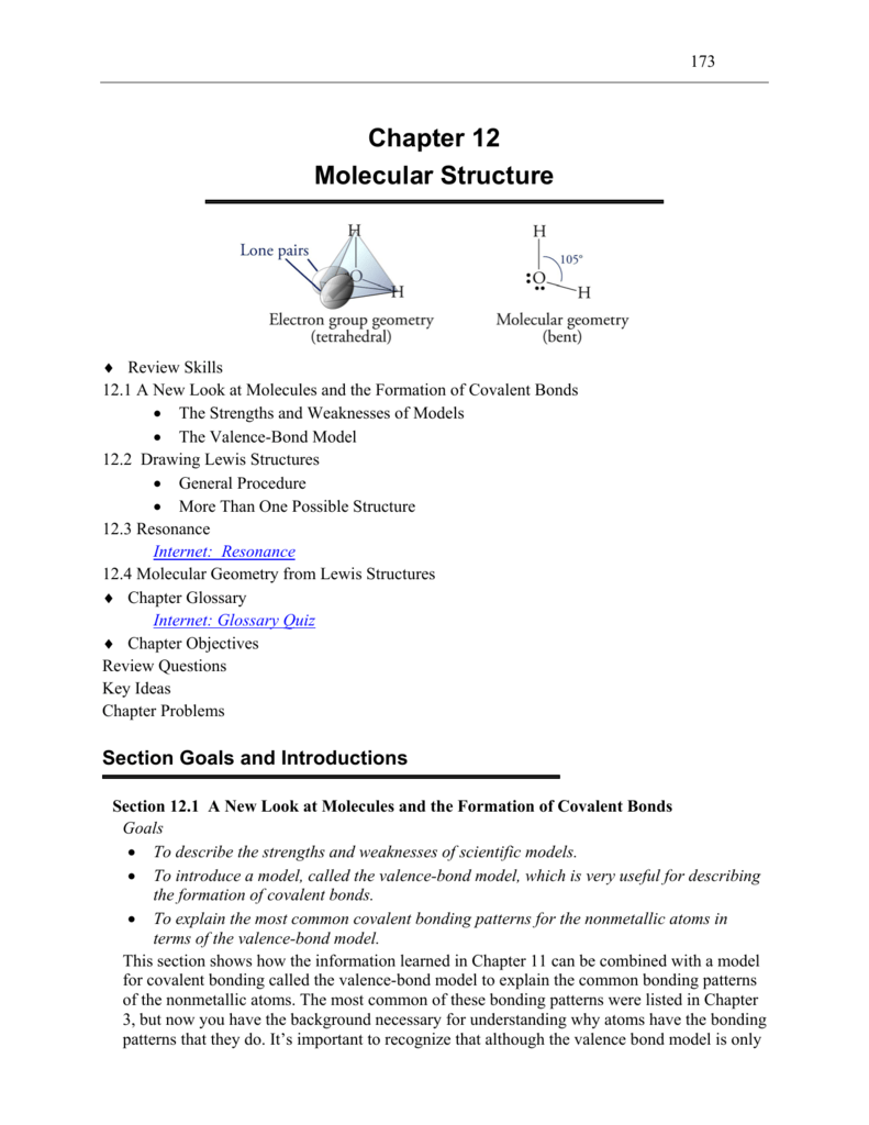 Chapter 12 Molecular Structure