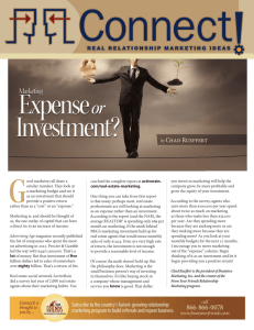 Marketing - Investment or Expense?