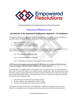 Introduction to the Negotiated Performance Appraisal – For Employees