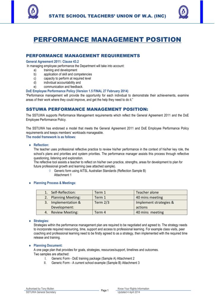 Performance Management Position