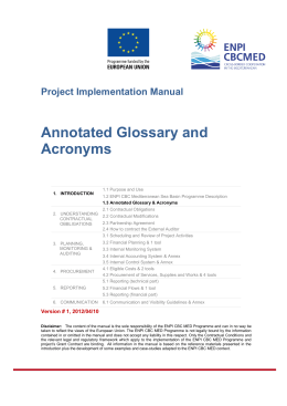 Annotated Glossary and Acronyms
