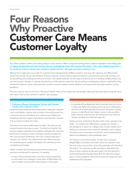 Four Reasons Why Proactive Customer Care Means
