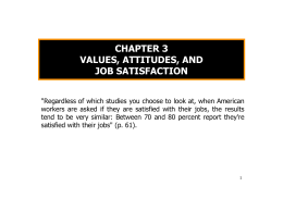 chapter 3 values, attitudes, and job satisfaction