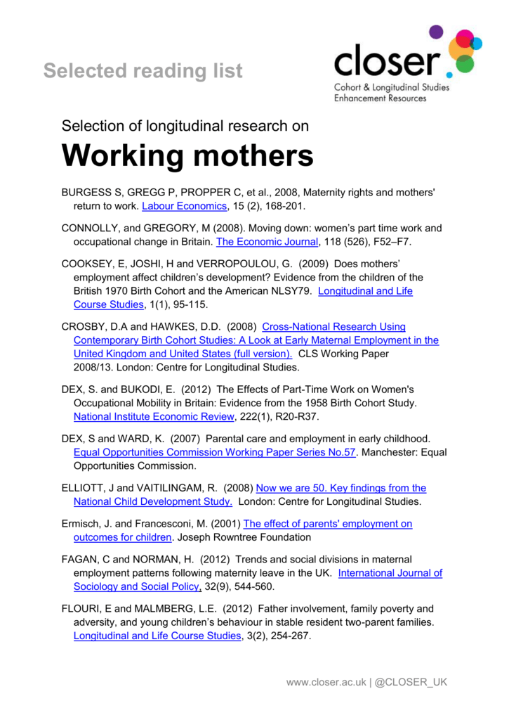 Key Findings From National Longitudinal >> Working Mothers