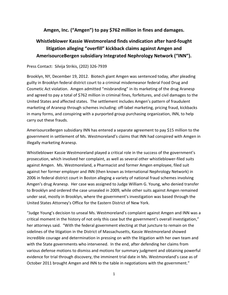 Press release - Taxpayers Against Fraud