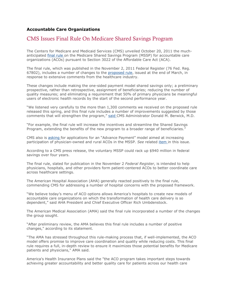 CMS Issues Final Rule On Medicare Shared Savings Program