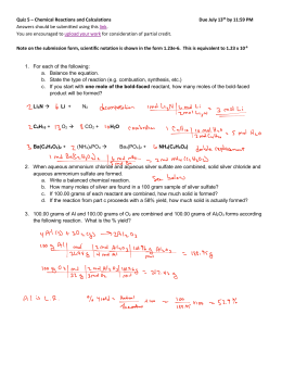 Quiz 5 – Chemical Reactions and Calculations Due July 13th by 11