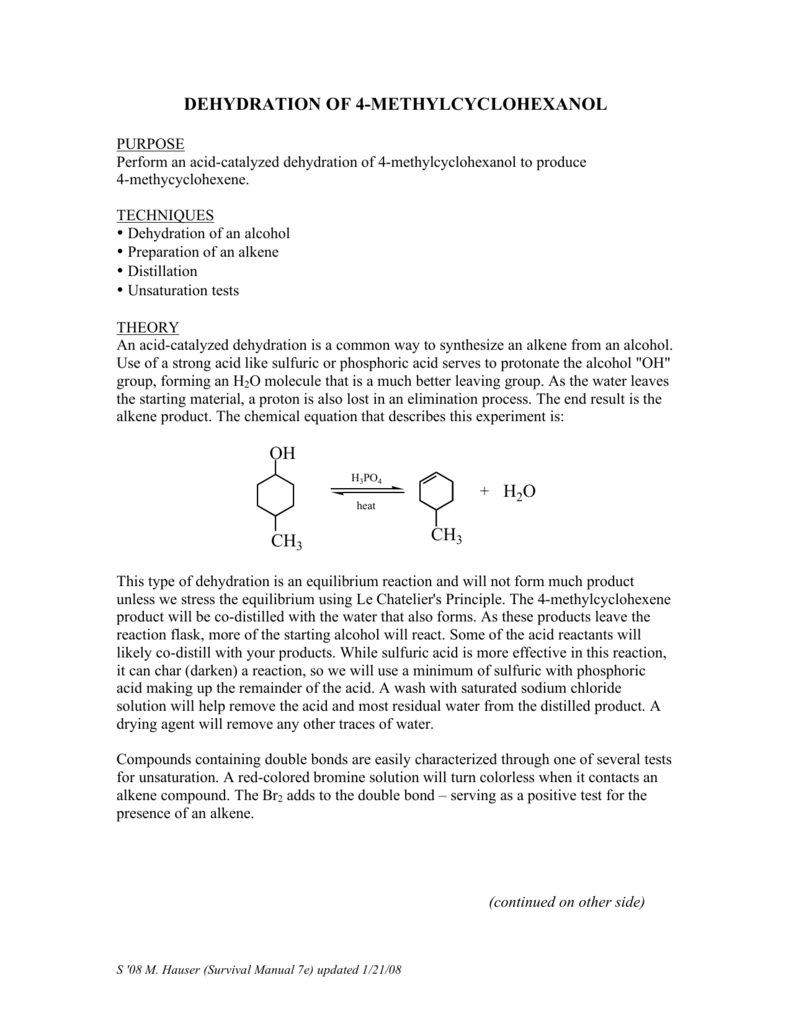 preparation of 4 methylcyclohexene from dehydration of 4 methylcyclohexanol