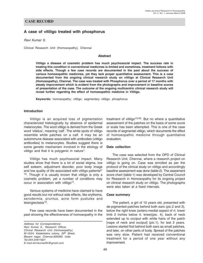 CASE RECORD A case of vitiligo treated with phosphorus