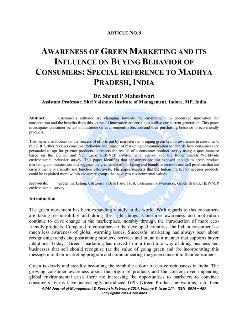 awareness of green marketing and its influence on