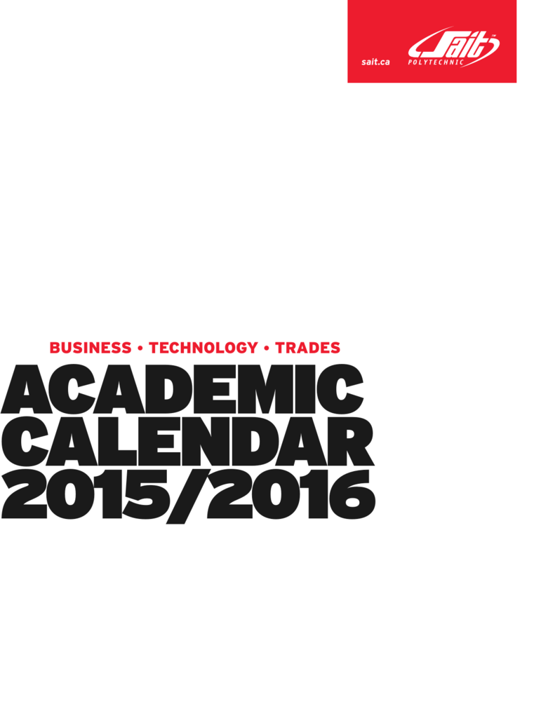 Academic Calendar 2015-2016