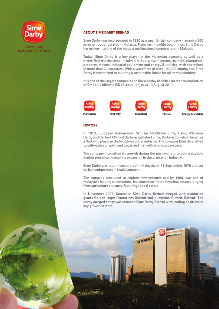 About Sime Darby Berhad Sime Darby Was Incorporated In